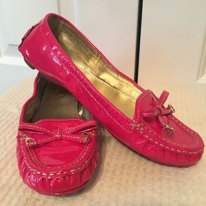 Coach patent leather driving Mocs —Raspberry